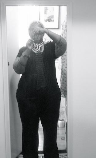 Black and white self portrait in the mirror