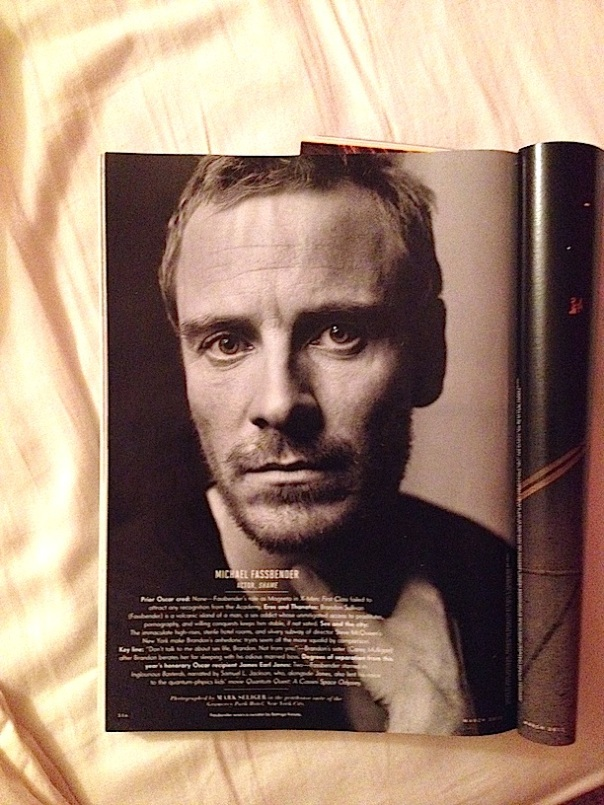 A photo of a photo of Michael Fassbender in Vanity Fair